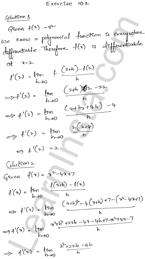 RD Sharma Class 12 Solutions Chapter 10 Differentiability Ex 10.2 1