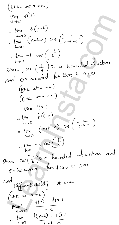 RD Sharma Class 12 Maths Solutions Chapter 10 Differentiability Ex 10.2 11