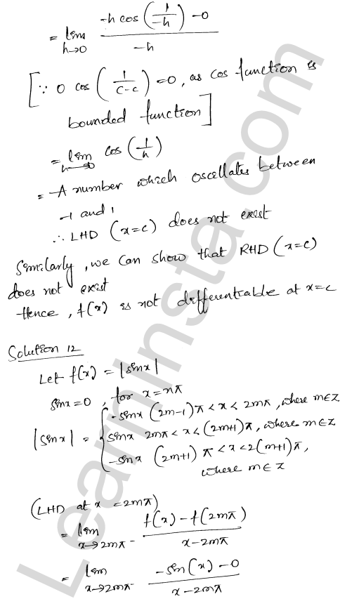 Solution of RD Sharma class 12 chapter 10 Differentiability Ex 10.2 12