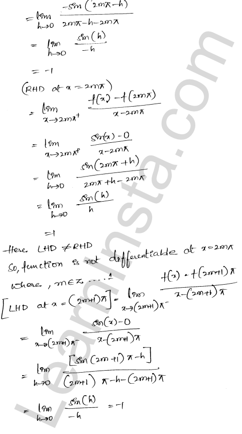 Class 12 RD Sharma solutions chapter 10 Differentiability Ex 10.2 13