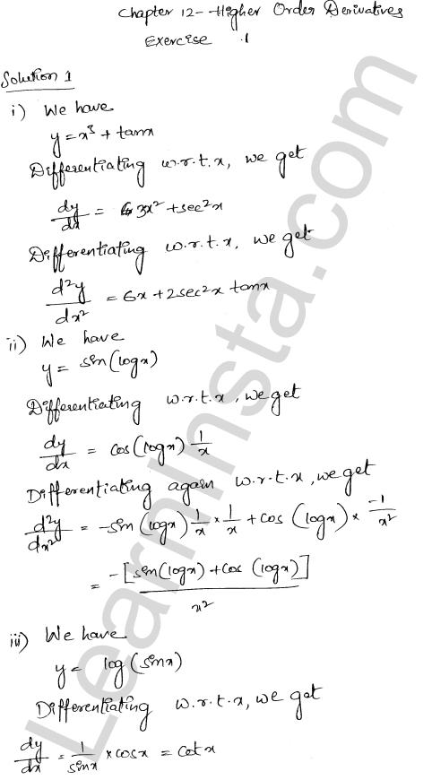 RD Sharma Class 12 Solutions Chapter 12 Higher Order Derivatives Ex 12.1 1