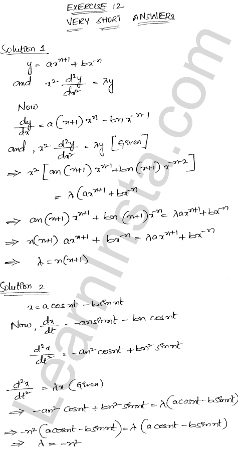 RD Sharma Class 12 Solutions Higher Order Derivatives Chapter 12 VSAQ 1