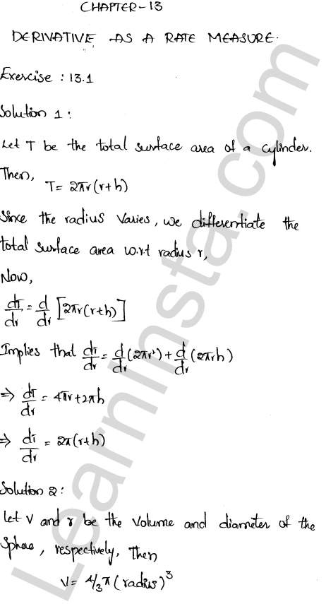 RD Sharma Class 12 Solutions Chapter 13 Derivative as a Rate Measurer Ex 13.1 1