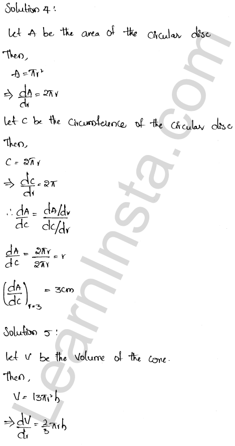 RD Sharma Class 12 Solutions Derivative as a Rate Measurer Chapter 13 Ex 13.1 3