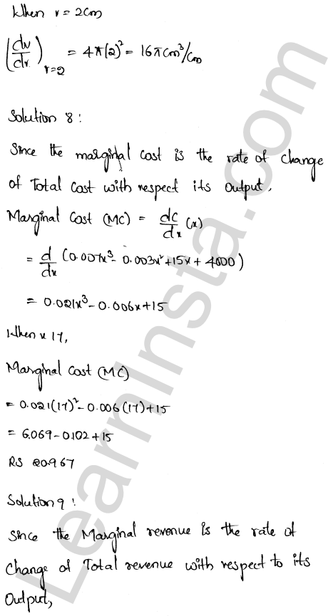 RD Sharma Class 12 Maths Solutions Chapter 13 Derivative as a Rate Measurer Ex 13.1 5