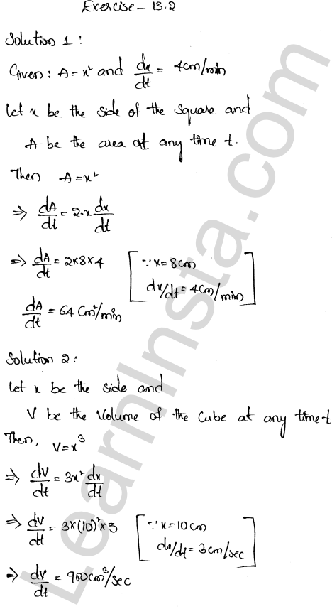 RD Sharma Class 12 Solutions Chapter 13 Derivative as a Rate Measurer Ex 13.2 1