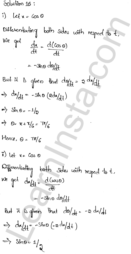 RD Sharma Solutions Class 12 Derivative as a Rate Measurer Chapter 13 Ex 13.2 10