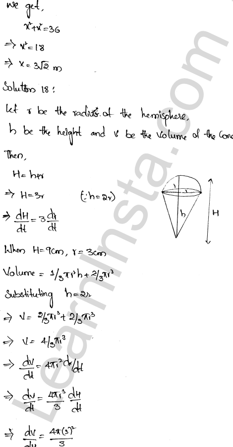 Solution of RD Sharma class 12 chapter 13 Derivative as a Rate Measurer Ex 13.2 12