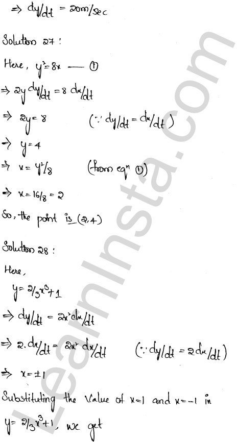 Solution of RD Sharma class 12 chapter 13 Derivative as a Rate Measurer Ex 13.2 19