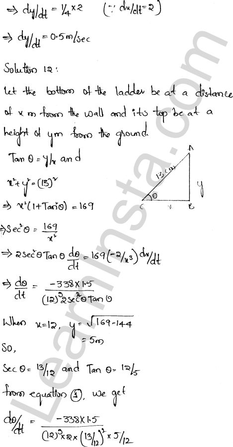 Class 12 RD Sharma maths solutions chapter 13 Derivative as a Rate Measurer Ex 13.2 7