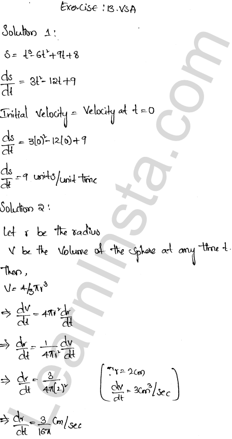 RD Sharma Class 12 Solutions Chapter 13 Derivative as a Rate Measurer VSAQ 1