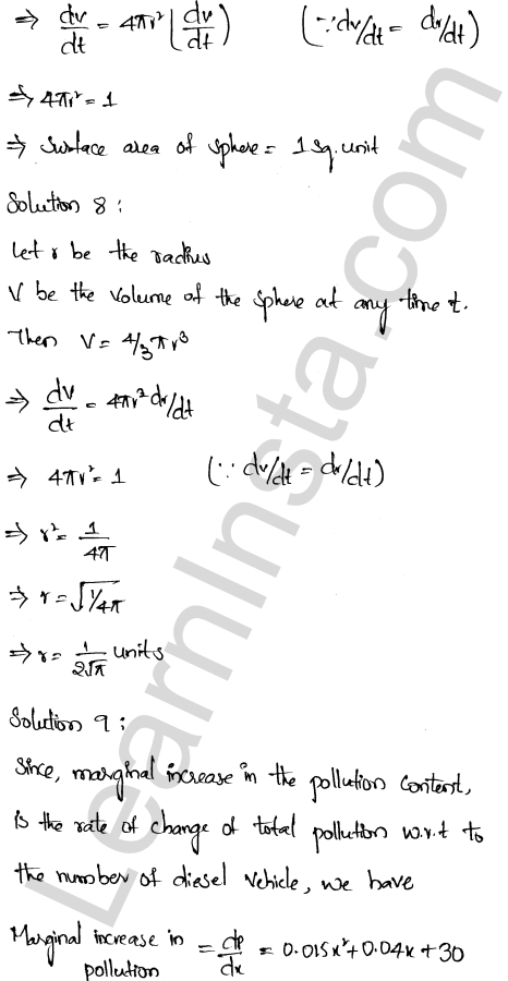 RD Sharma Class 12 Maths Solutions Chapter 13 Derivative as a Rate Measurer VSAQ 4