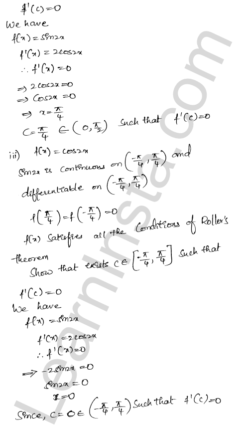 RD Sharma Solutions Class 12 Mean Value Theorems Chapter 15 Ex 15.1 10