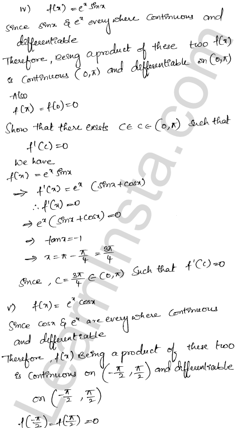 RD Sharma Solutions Class 12 Mean Value Theorems Chapter 15 Ex 15.1 11