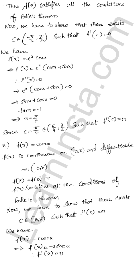 RD Sharma Solutions Class 12 Mean Value Theorems Chapter 15 Ex 15.1 12