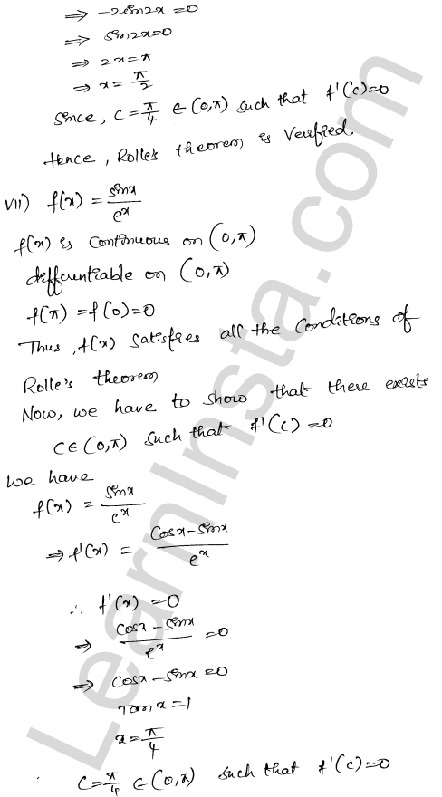 RD Sharma Class 12 Maths Solutions Chapter 15 Mean Value Theorems Ex 15.1 13