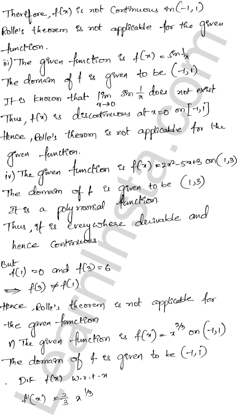 RD Sharma Class 12 Solutions Chapter 15 Mean Value Theorems Ex 15.1 2
