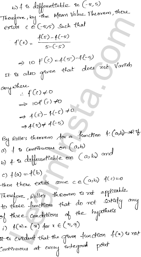 Class 12 RD Sharma solutions chapter 15 Mean Value Theorems Ex 15.1 25