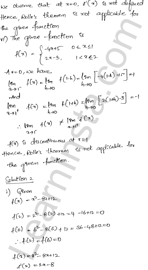 RD Sharma Class 12 Solutions Chapter 15 Mean Value Theorems Ex 15.1 3
