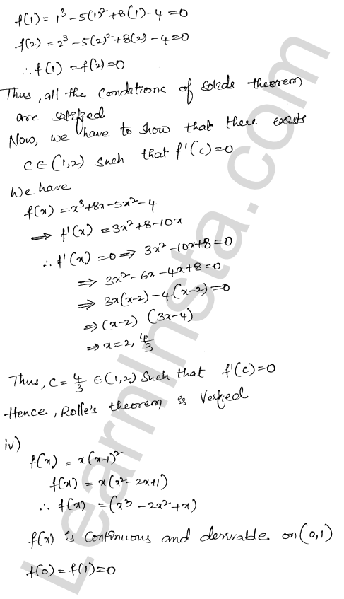 RD Sharma Class 12 Solutions Mean Value Theorems Chapter 15 Ex 15.1 5