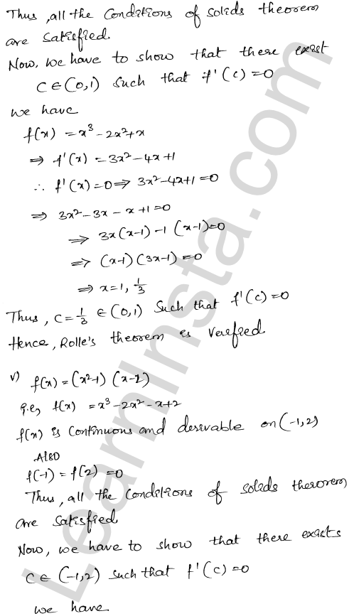 RD Sharma Class 12 Solutions Mean Value Theorems Chapter 15 Ex 15.1 6