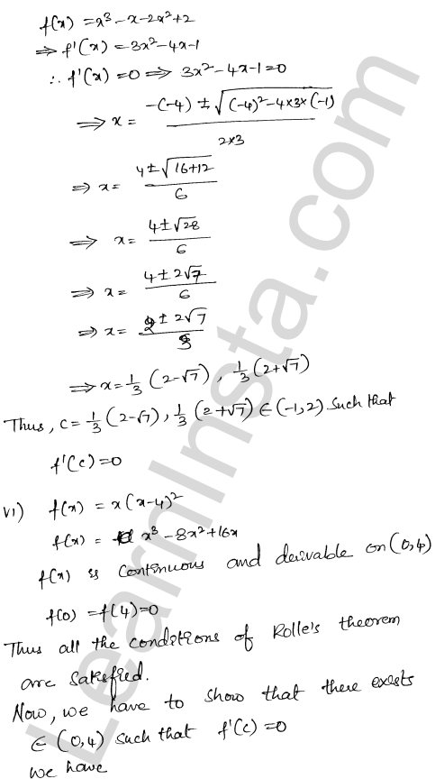 RD Sharma Class 12 Solutions Mean Value Theorems Chapter 15 Ex 15.1 7