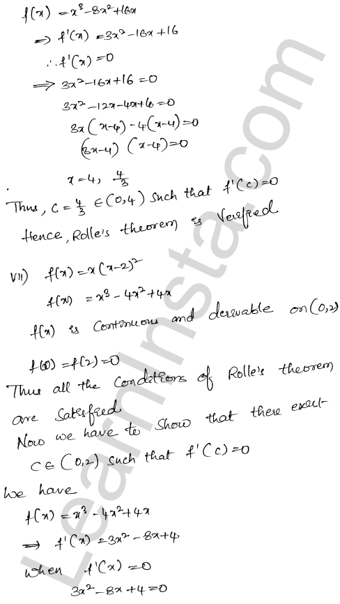 RD Sharma Class 12 Solutions Mean Value Theorems Chapter 15 Ex 15.1 8