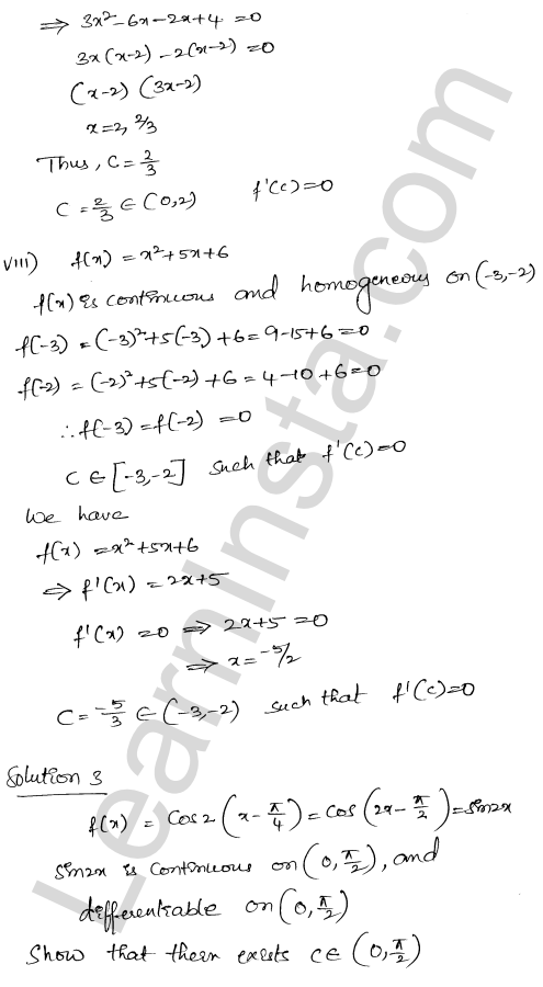 RD Sharma Solutions Class 12 Mean Value Theorems Chapter 15 Ex 15.1 9