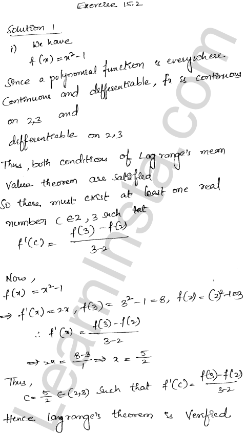 RD Sharma Class 12 Solutions Chapter 15 Mean Value Theorems Ex 15.2 1