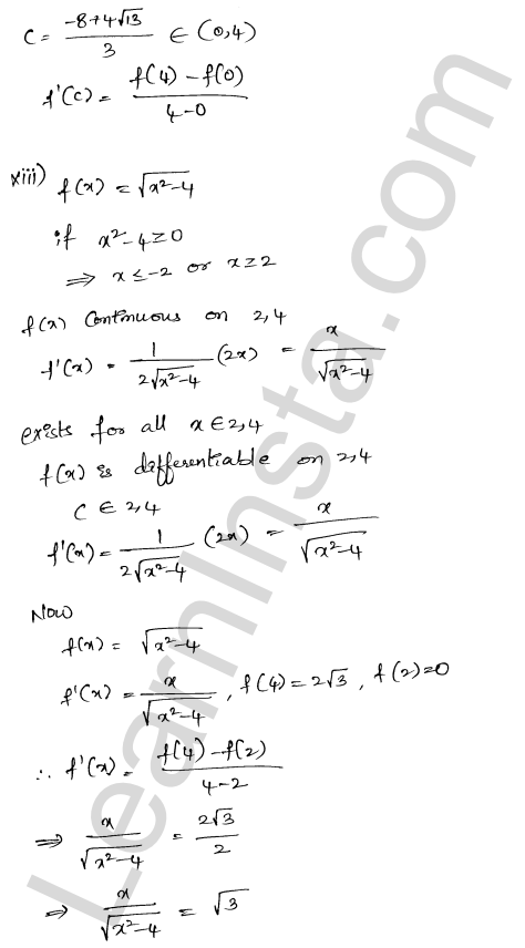 RD Sharma Solutions Class 12 Mean Value Theorems Chapter 15 Ex 15.2 11