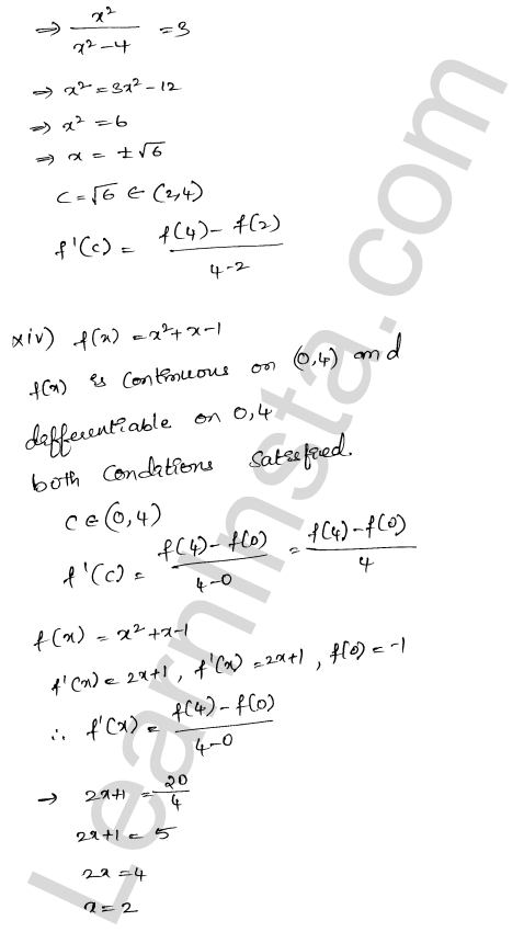 RD Sharma Solutions Class 12 Mean Value Theorems Chapter 15 Ex 15.2 12