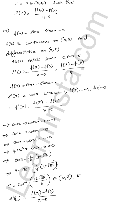 RD Sharma Class 12 Maths Solutions Chapter 15 Mean Value Theorems Ex 15.2 13