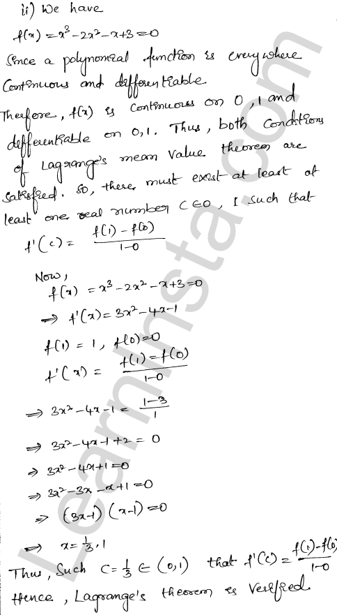 RD Sharma Class 12 Solutions Chapter 15 Mean Value Theorems Ex 15.2 2