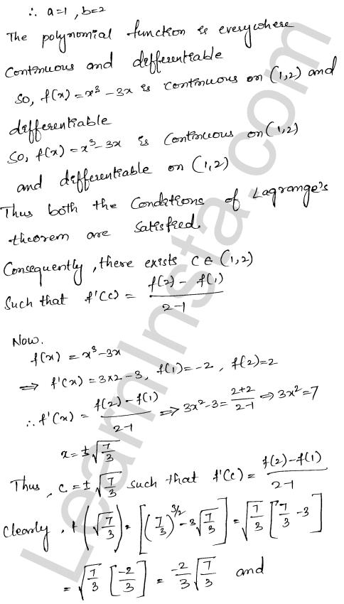Class 12 RD Sharma solutions chapter 15 Mean Value Theorems Ex 15.2 21