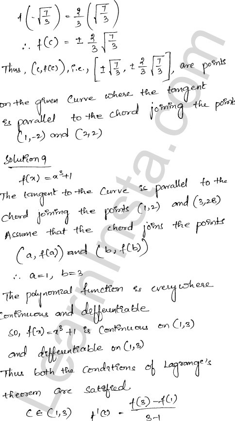 Class 12 RD Sharma solutions chapter 15 Mean Value Theorems Ex 15.2 22