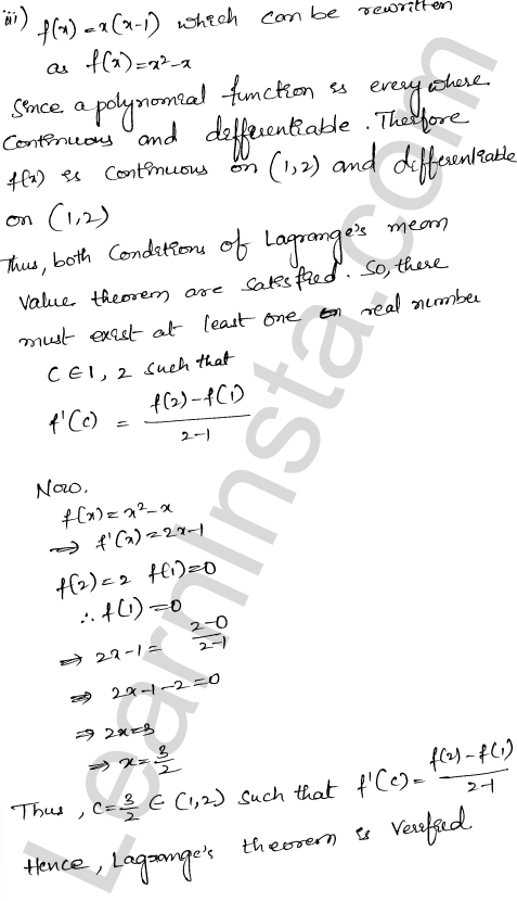 RD Sharma Class 12 Solutions Chapter 15 Mean Value Theorems Ex 15.2 3