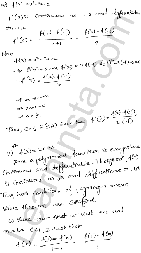 RD Sharma Class 12 Solutions Chapter 15 Mean Value Theorems Ex 15.2 4