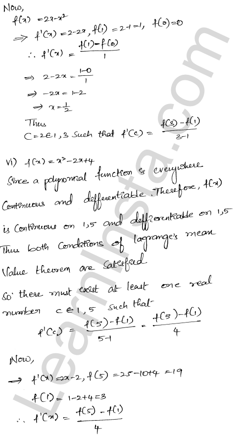 RD Sharma Class 12 Solutions Mean Value Theorems Chapter 15 Ex 15.2 5