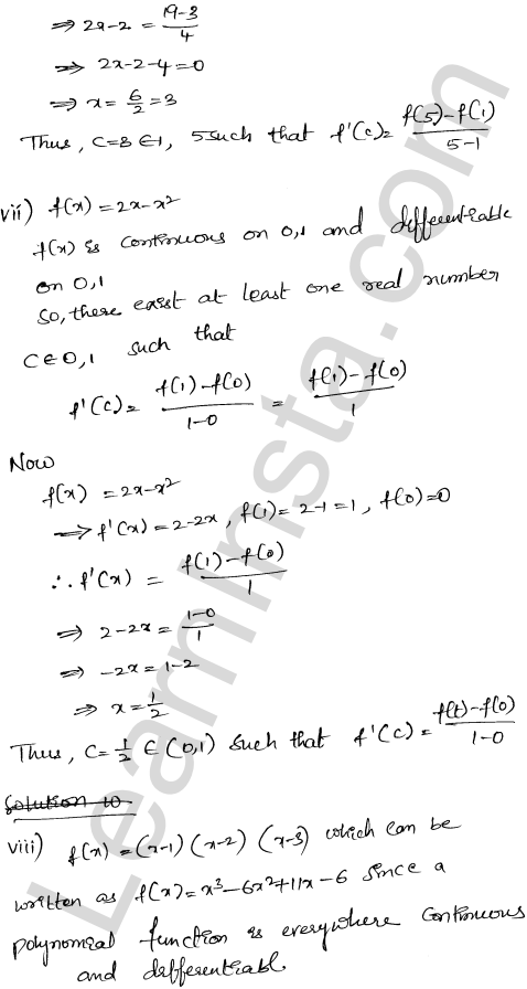 RD Sharma Class 12 Solutions Mean Value Theorems Chapter 15 Ex 15.2 6