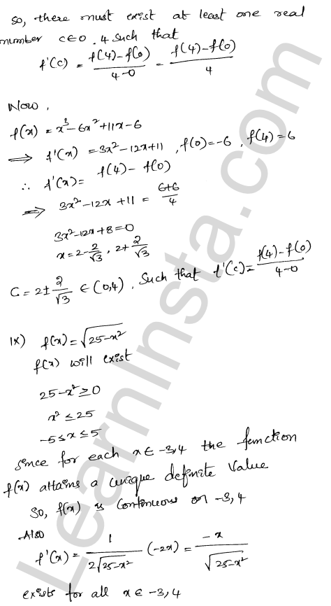 RD Sharma Class 12 Solutions Mean Value Theorems Chapter 15 Ex 15.2 7