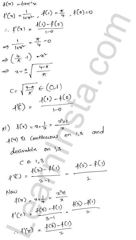 RD Sharma Solutions Class 12 Mean Value Theorems Chapter 15 Ex 15.2 9
