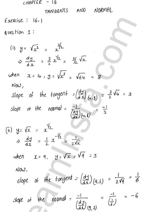 RD Sharma Class 12 Solutions Chapter 16 Tangents and Normals Ex 16.1 1