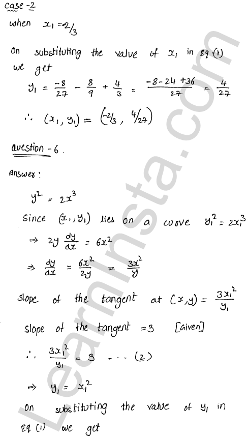 RD Sharma Solutions Class 12 Tangents and Normals Chapter 16 Ex 16.1 11