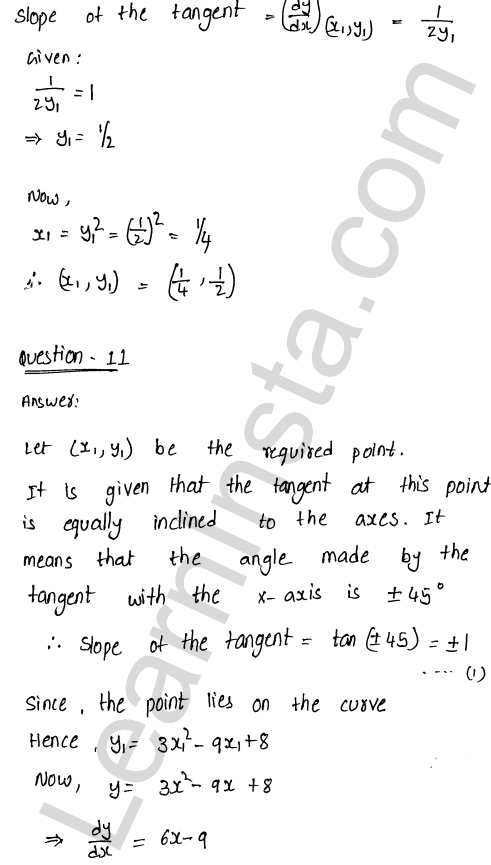 RD Sharma Class 12 Maths Solutions Chapter 16 Tangents and Normals Ex 16.1 16
