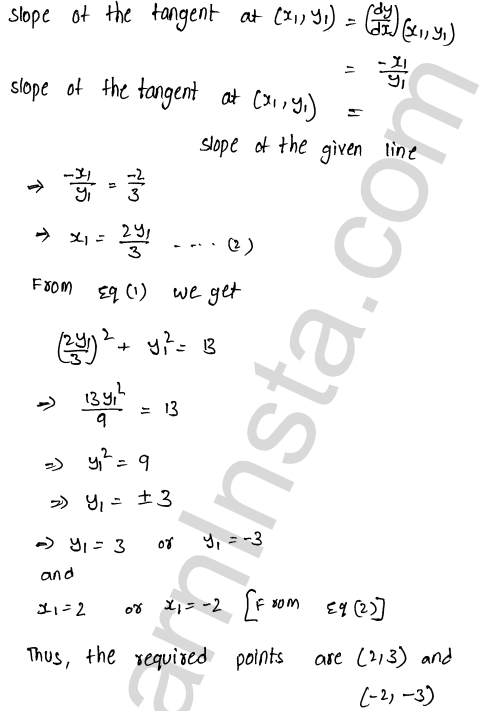 Class 12 RD Sharma solutions chapter 16 Tangents and Normals Ex 16.1 21