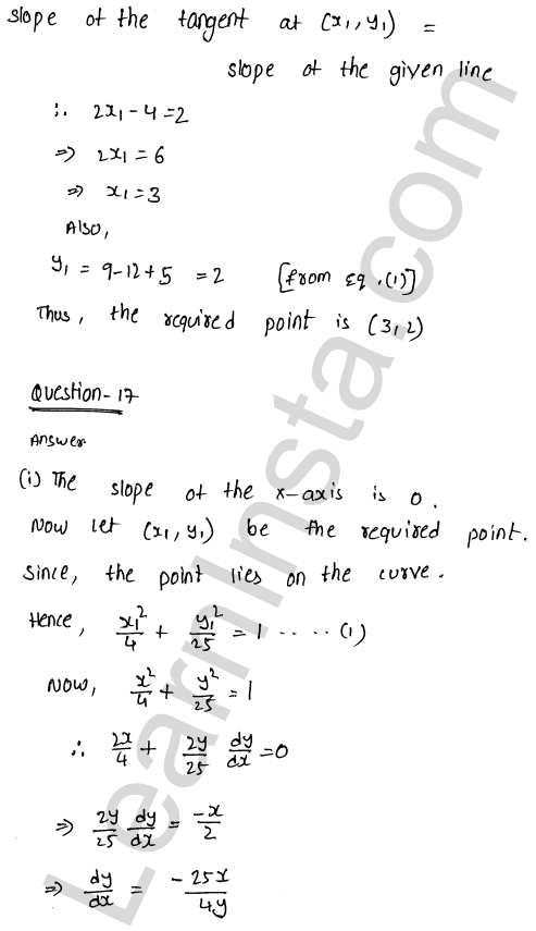 Class 12 RD Sharma solutions chapter 16 Tangents and Normals Ex 16.1 24