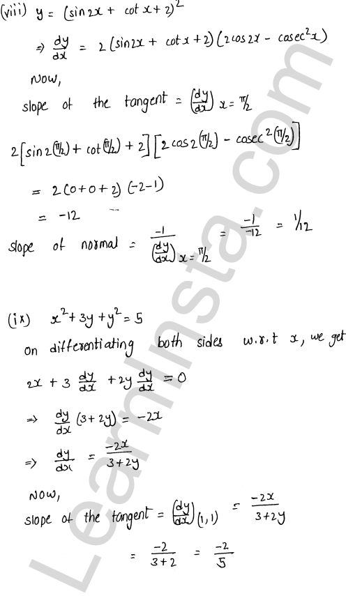 RD Sharma Class 12 Solutions Tangents and Normals Chapter 16 Ex 16.1 5