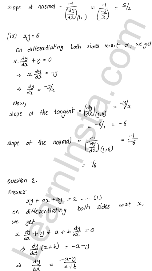 RD Sharma Class 12 Solutions Tangents and Normals Chapter 16 Ex 16.1 6