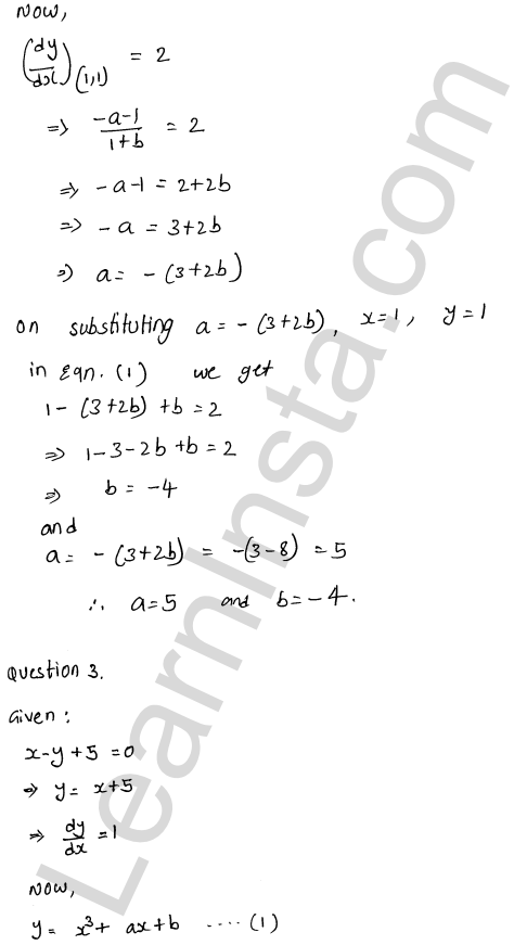 RD Sharma Class 12 Solutions Tangents and Normals Chapter 16 Ex 16.1 7