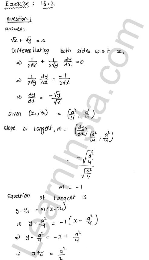 RD Sharma Class 12 Solutions Chapter 16 Tangents and Normals Ex 16.2 1